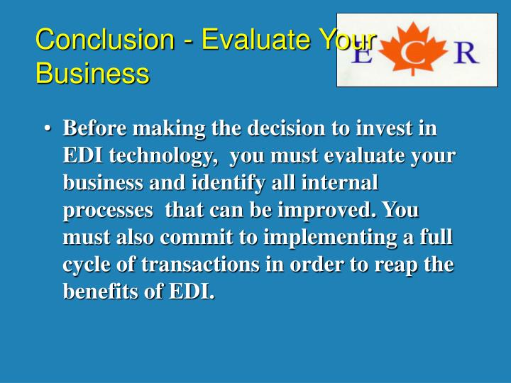 Conclusion - Evaluate Your Business