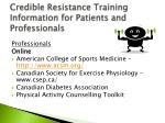 credible resistance training information for patients and professionals1