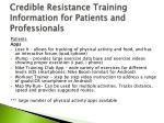 credible resistance training information for patients and professionals5