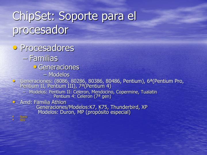 ChipSet: Soporte para el procesador