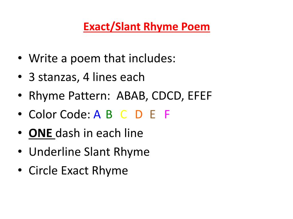 Rhyming Patterns In Poems Cool Decorating Ideas