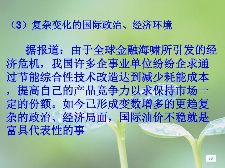 (3)复杂变化的国际政治、经济环境