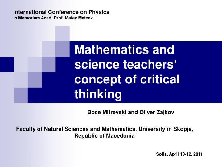 Mathematics and science teachers concept of critical thinking