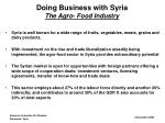 doing business with syria the agro food industry