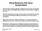 doing business with syria tourism sector
