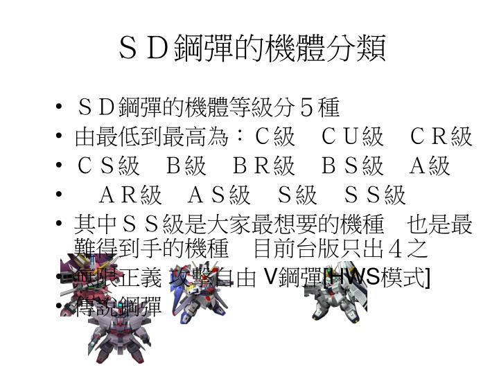 SD鋼彈的機體分類