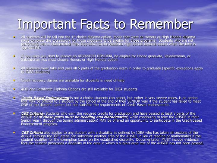 Important Facts to Remember