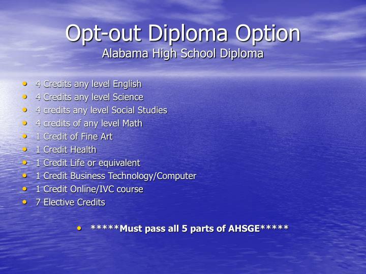 Opt-out Diploma Option