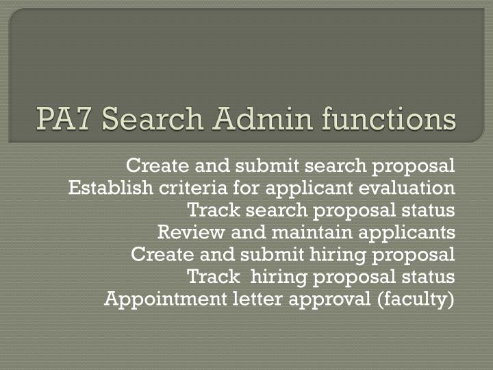 pa7 search admin functions n.