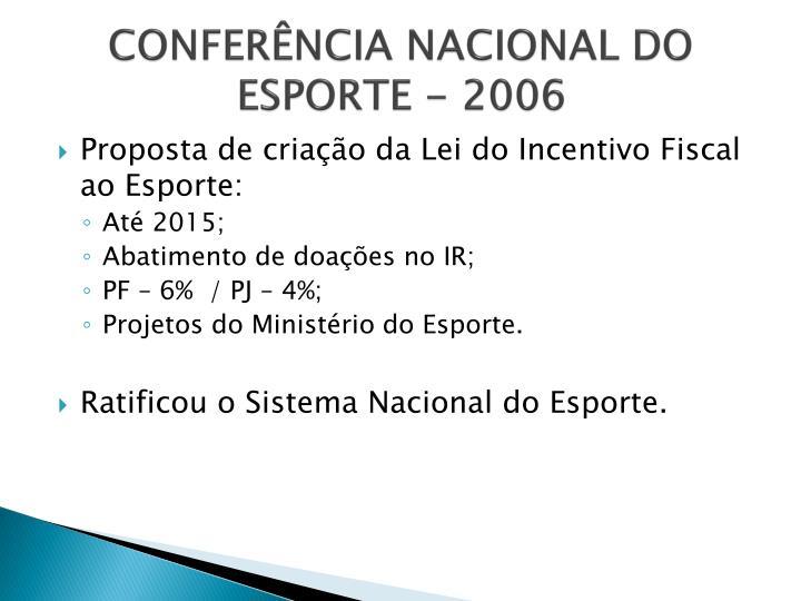 CONFERÊNCIA NACIONAL DO ESPORTE - 2006