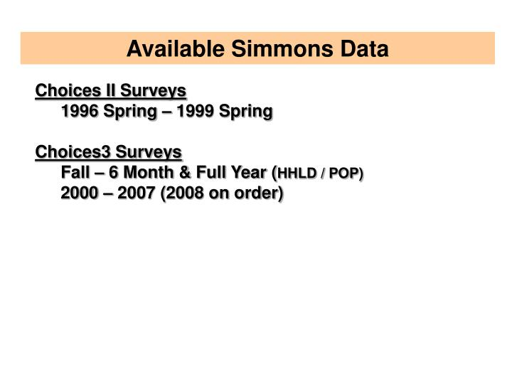 Available Simmons Data