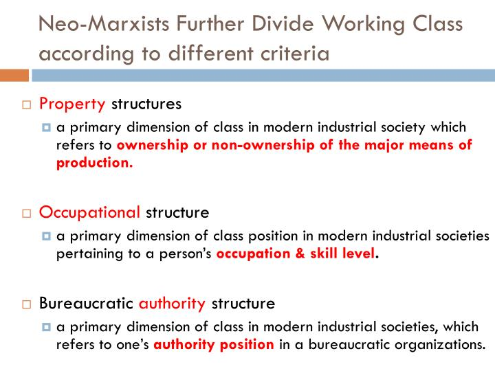 Neo marxists further divide working class according to different criteria