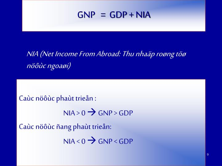 GNP   =  GDP + NIA