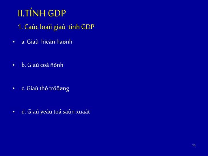 II.TÍNH GDP