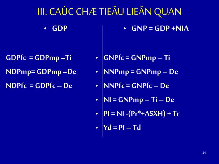 III. CAÙC CHÆ TIEÂU LIEÂN QUAN