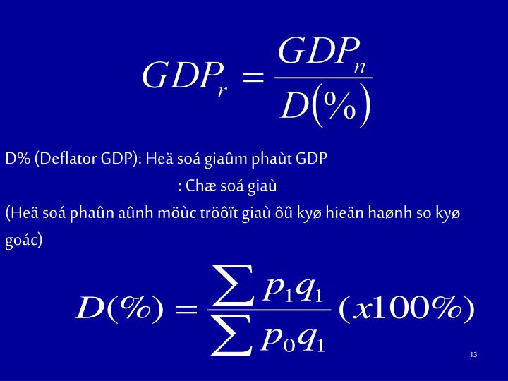 D% (Deflator GDP): Heä soá giaûm phaùt GDP