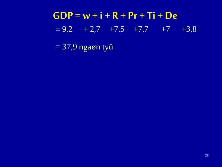 GDP = w + i + R + Pr + Ti + De