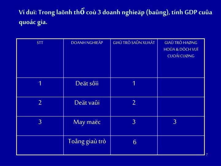 Ví duï: Trong laõnh thổ coù 3 doanh nghieäp (baûng), tính GDP cuûa quoác gia.