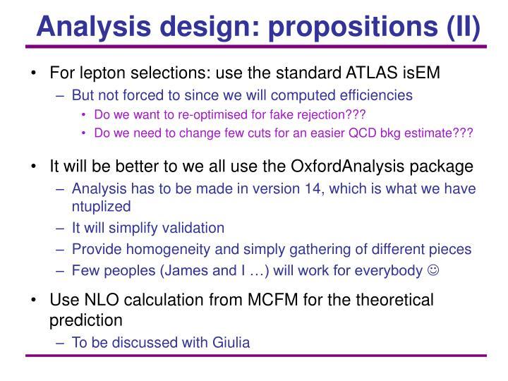 Analysis design: propositions (II)