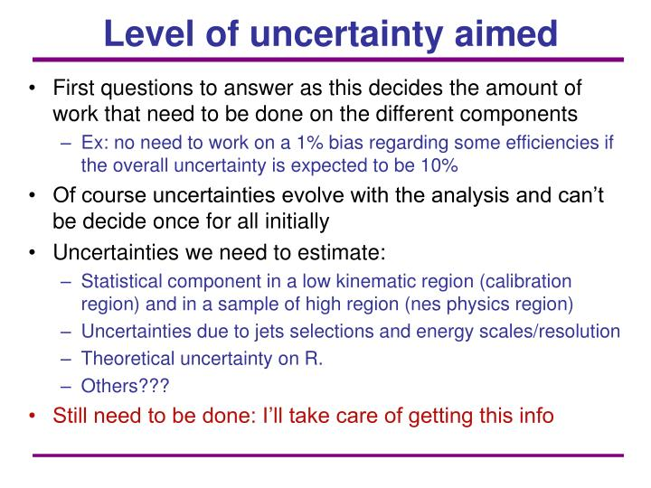 Level of uncertainty aimed