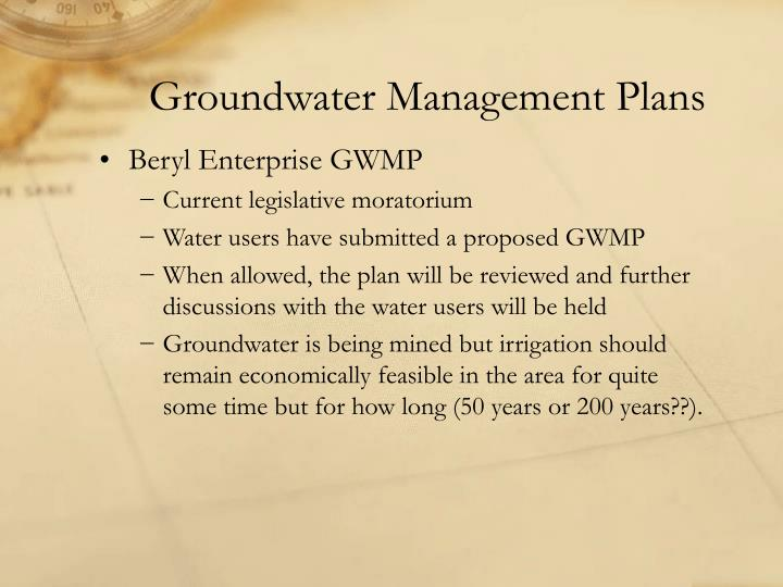 Groundwater Management Plans