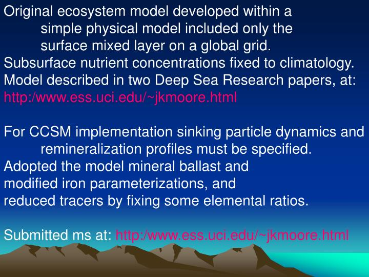Original ecosystem model developed within a