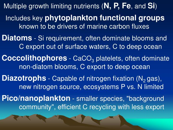 Multiple growth limiting nutrients (