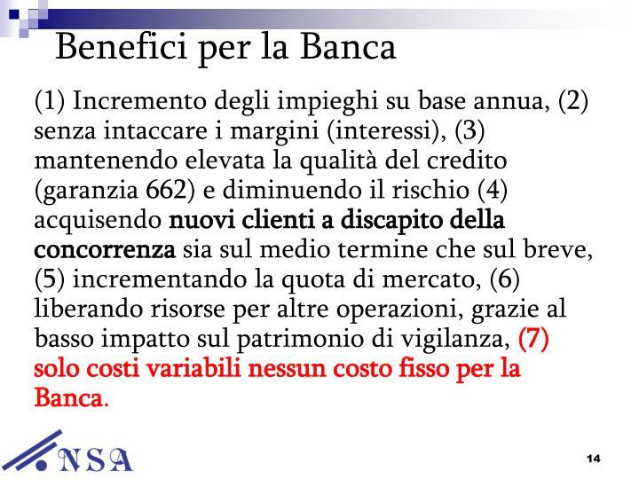 Benefici per la Banca