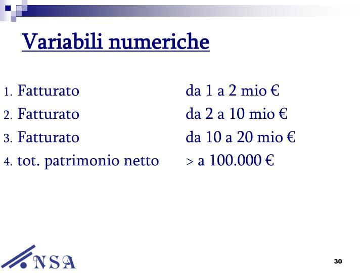 Variabili numeriche