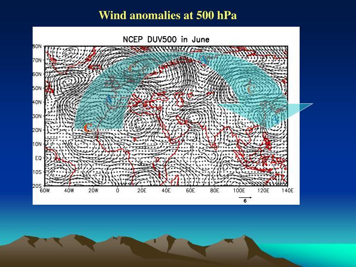 Wind anomalies at 500 hPa