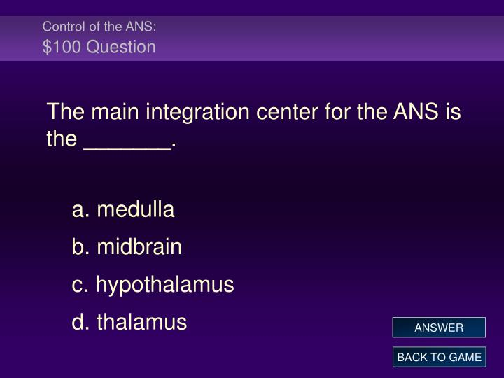Control of the ANS:
