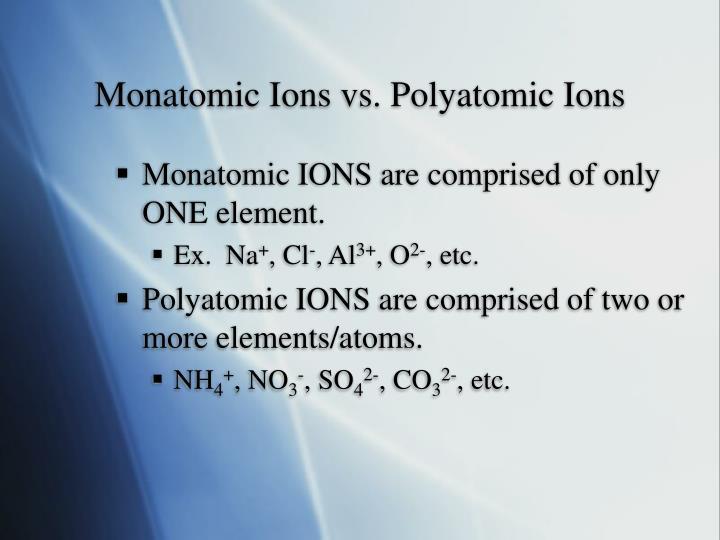 Monatomic Ions vs. Polyatomic Ions