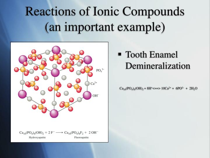 Reactions of Ionic Compounds (an important example)