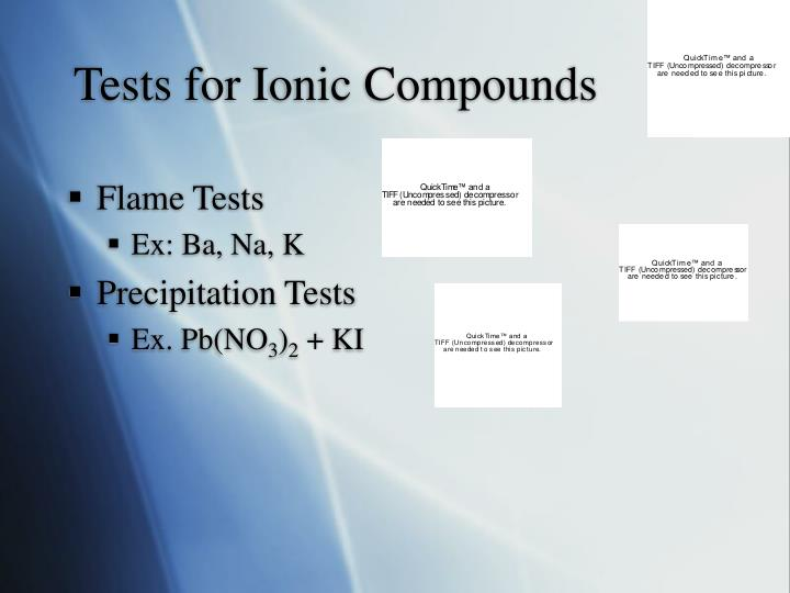 Tests for Ionic Compounds