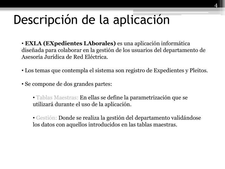 Descripción de la aplicación
