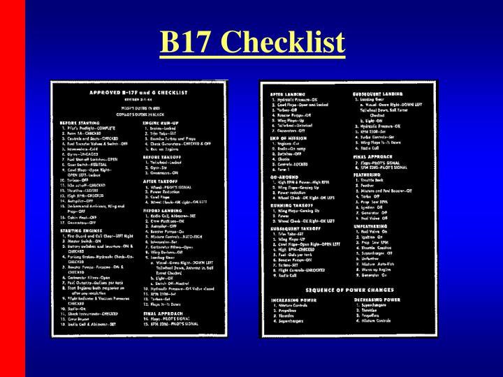 B17 Checklist
