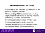 recommendations for petes
