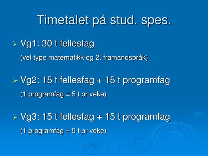 Timetalet på stud. spes.