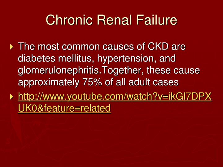 thesis on chronic renal failure Due to his renal failure he is unable to absorb calcium as well, which also leads to low circulating calcium in the blood medications mr b is on diflucan, this medication is an antifungal that is used to treat and prevent fungal infections in the body.