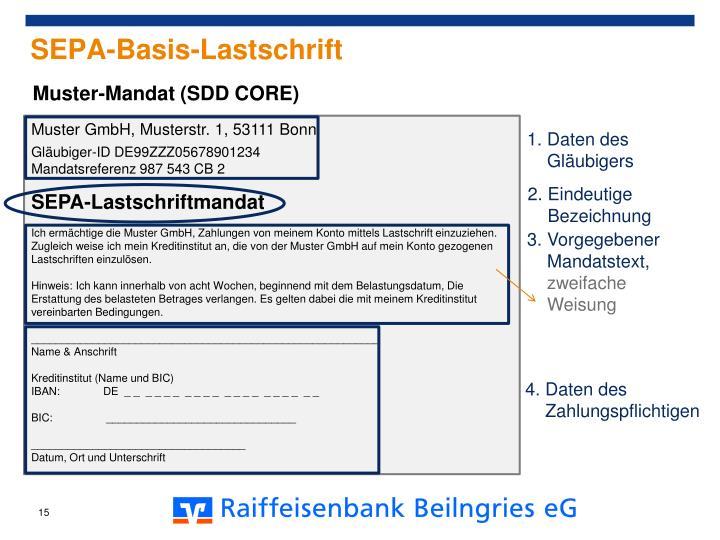 sepa basis lastschrift muster mandat - Sepa Mandat Muster