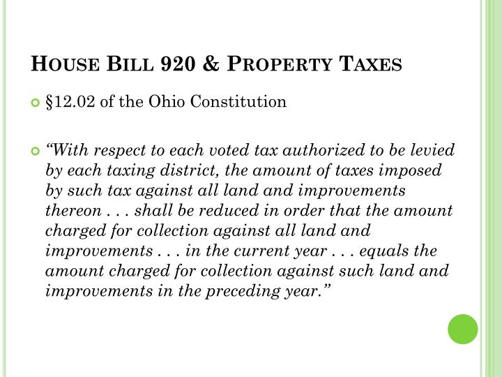 House Bill 920 & Property Taxes