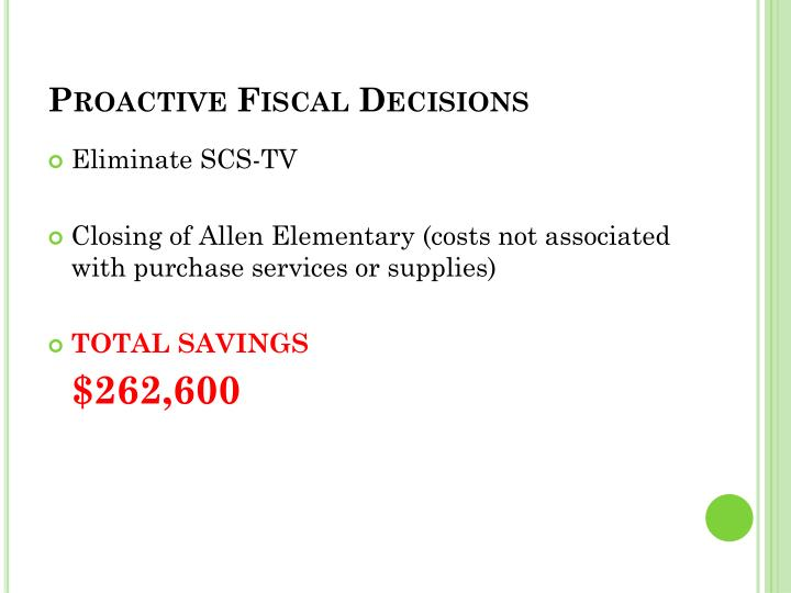 Proactive Fiscal Decisions