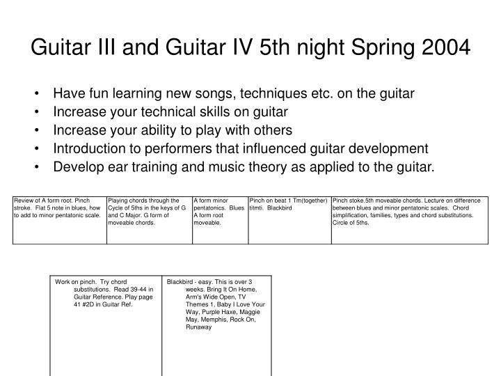 PPT - Guitar III and Guitar IV 5th night Spring 2004 PowerPoint ...