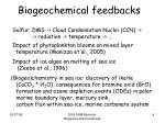 biogeochemical feedbacks