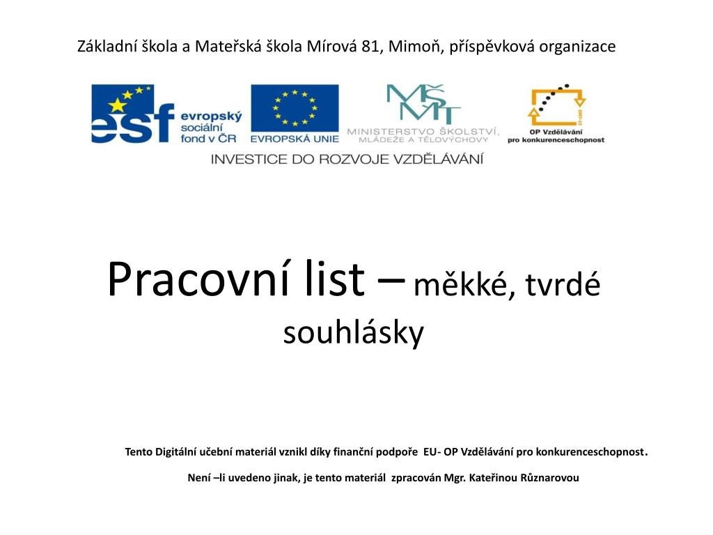 Ppt Zakladni Skola A Materska Skola Mirova 81 Mimon Prispevkova