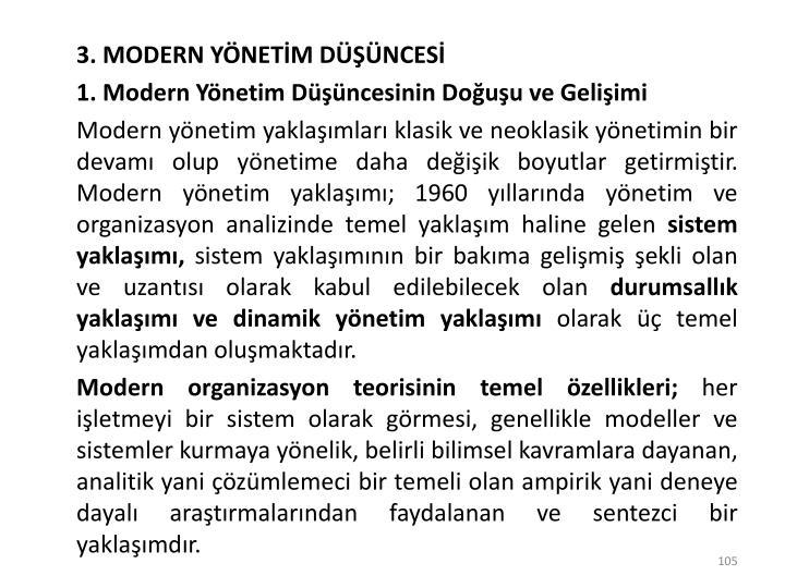 3. MODERN YÖNETİM DÜŞÜNCESİ