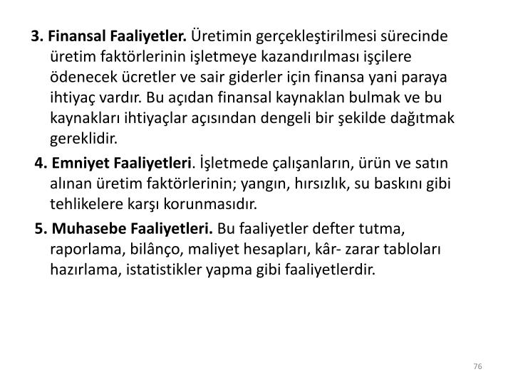 3. Finansal Faaliyetler.