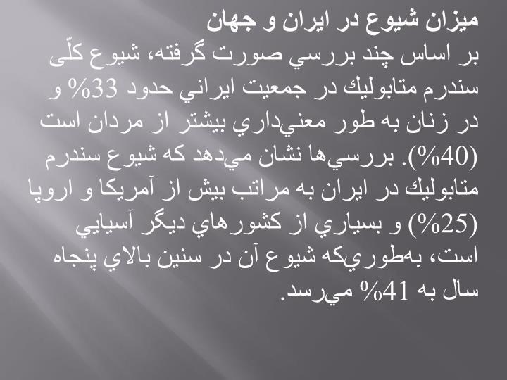 ميزان شيوع در ايران و جهان