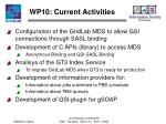 wp10 current activities