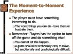 the moment to moment experience